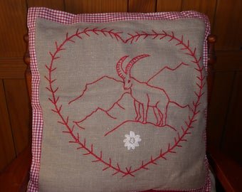 handmade Cushion cover, red cotton thread embroidery.