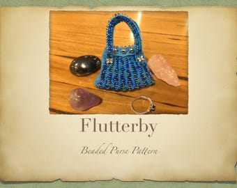 Flutterby Beaded Purse PATTERN ONLY 11 Seed Beads Knitted Miniture Purse for Tooth Fairy Crystals Jewlery or Purfume Pouch