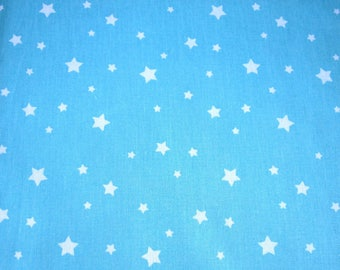 Turquoise 100% cotton fabric white stars