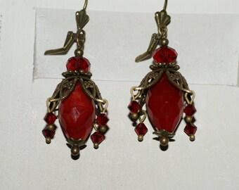 Flower Earrings Ruby glass beads
