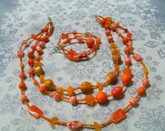 set (necklace and bracelet) unique, original (orange)