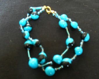 unique and colorful polymer clay and Beads Bracelet
