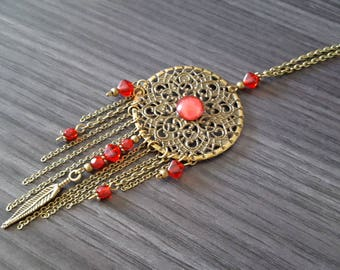 Simple red Dreamcatcher necklace