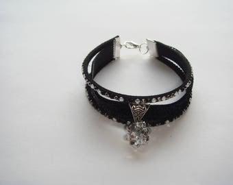 Black lurex and suede Ribbon Bracelet