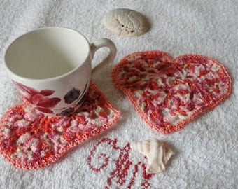 2 saucer, coaster, mug, placemat, sparkly crochet cotton white pink red heart shaped rug