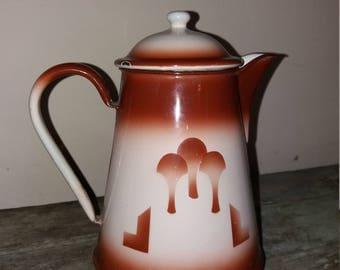 Vintage French Enamel Coffee Pot,Rustic,Country Kitchen,Decor,Enamelware,Gift,Flower Pot,Vase