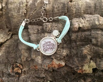 "Light Blue Suede bracelet ""I love cupcakes"""