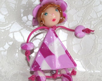 Pink gingham - chick dress triangle & little flower Hat