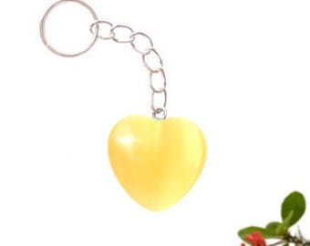 Keychain heart silver plated - citrine