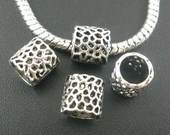 beads silver spacers, 8 * 8 mm, set of 6