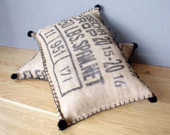 Floor cushion vintage text burlap coffee bag