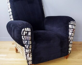 Spirit loft relined in velvet and faux printed leather club Chair