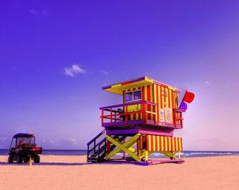 South Beach Lifeguard at Sunset Beautiful Day Miami Beach Fine Art Photography