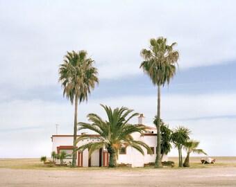 Beach House, Photograph, Poster, Palm Tree, Beach, Analog, Fine Art Print