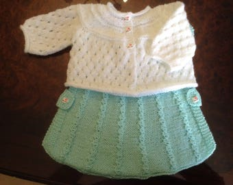 Flight of spring set Baby girl 3 to 6 months hand knitted in acrylic baby wool