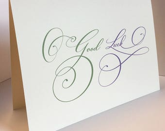 Good Luck Card, Wedding Card, Engagement Card, Good Luck, Calligraphy Card, For the Newlywed, Weddings, Greeting Card, Blank Card