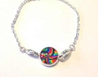 Fine silver bracelet multicolor cabochon
