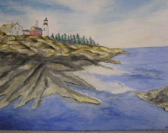"Watercolor ""winter Lighthouse"""