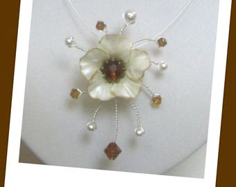 Amber flora Co291 wedding necklace