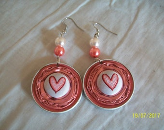 Pink and pretty capsule earring button with Center heart