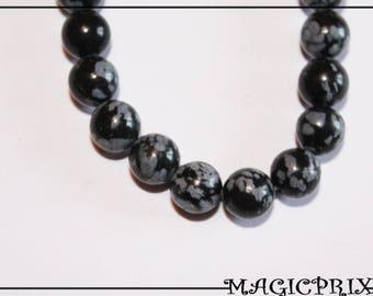 Set of 10 beads natural obsidian black & white Ø 8 mm m2642