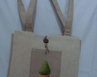 linen embroidered Topiary design - unique handbag