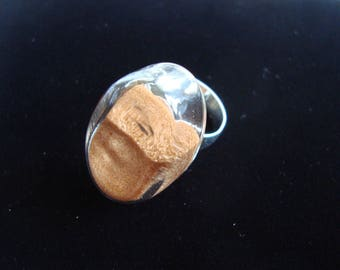 Oval Ring in blown glass filled real sand from the Libyan desert