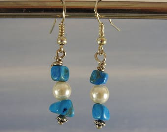 Copper rod, stone gems and pearls dangling earrings glass