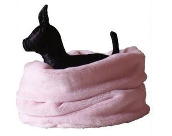 LIGHT GREEN Nid Douillet - Bedding Dogs or Cats Faux Fur Fabrics - Threeway Bedding (basket, tunnel, carpet) - On Order