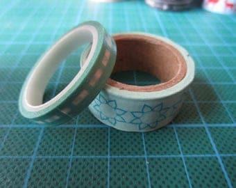 Green Blue set of 2 rolls of masking tape