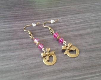 Round Fuchsia heart Earrings