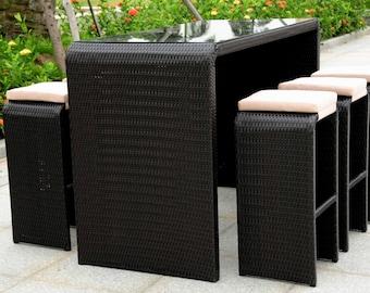 Rattan Bar Table and Stools