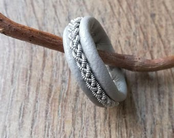 Light grey leather Sami-inspired ring