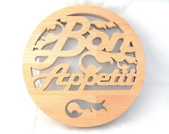 """Trivet """"Bon Appétit"""" wooden cut"""