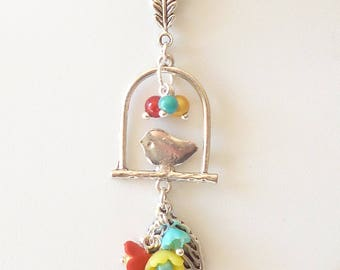 "Romantic dainty necklace ""pendant Bird on his perch summer colors '"""