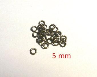 Set of 10 rings bronze 5 mm - lead and nickel free