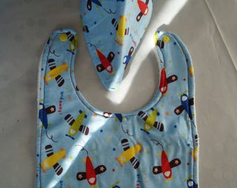 Airplane themed bavana and bib set