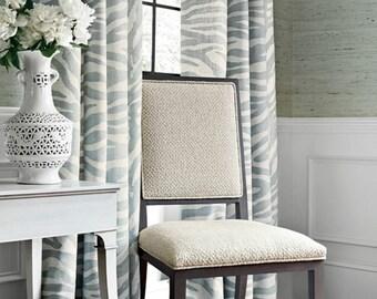 Blue Gray Curtains Thibaut Zebra Print Serengeti Roman Shade Custom Lengths  Extra Long Extra Wide Pale