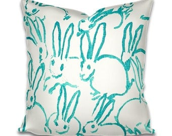Hunt Slonem Pillow Hutch Groundworks Lee Jofa Bunnies Accent Pillow Lumbar Pillow Black and White Blue Pink Turquoise Orange Piping Blue