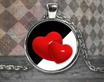 Two Hearts Necklace - Lovers - Black and White