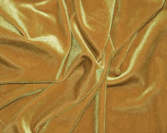 DARK GOLD Stretch Velvet Knit Fabric - Solid 4-Way Stretch Polyester Spandex Lycra - By The Yard
