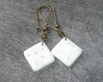 Marble effect diamond earrings