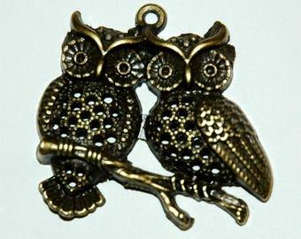 OWL, owl, OWL pendant bronze antique charm 43mm x 40mm #725-2
