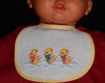 Birth tone yellow ducklings embroidered bib