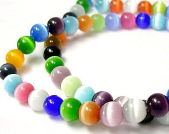 Set of pearls round cat's eye, glass, 65 pieces, multicolored 6mm