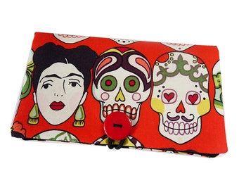 "Pocket notebook large size ""Dia de los muertos"" mexican Frida skull fabric tissue case"