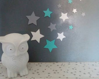Stars wall decor in light blue, grey and white