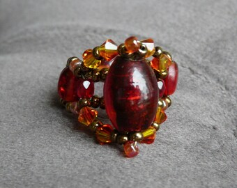 Large red cabochon bead ring