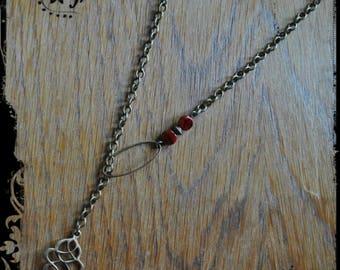 Lovely dark red short necklace