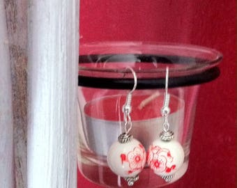 Red and white China beads earrings